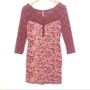 Free People Burgundy Pink Bodycon Lace Mini Dress